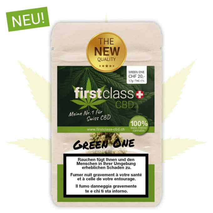 "Swiss ""firstclass"" Cannabis Indoor CBD ""GREEN ONE"" 1.7g - 10g"