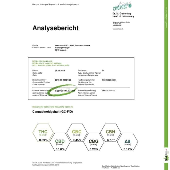 Swiss firstclass CBD Öl - höchste schweizer Qualität mit 10% CBD